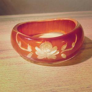 Embossed Floral Orange Lucite Bangle Bracelet